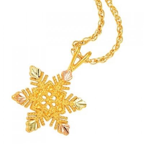 Mt Rushmore Black Hills Gold Snowflake Pendant