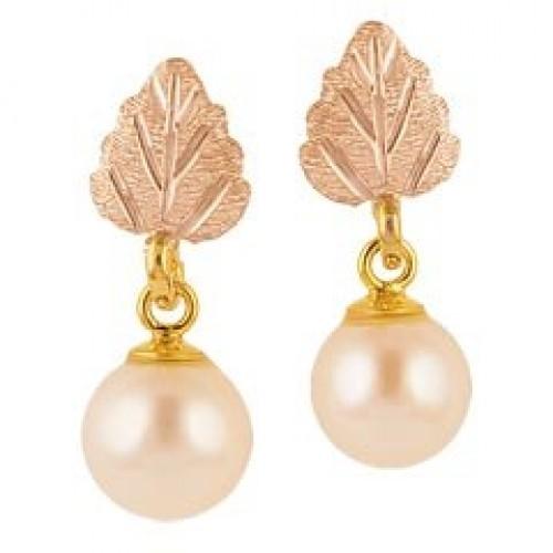 Black Hills Gold Pearl Earrings
