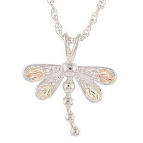 Black Hills Gold on Silver Dragonfly Pendant Neckl...