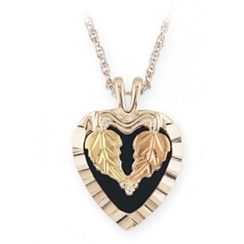 Black Hills Gold Heart Black Onyx Pendant