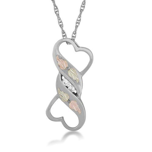 Black Hills Silver Twin Heart with White CZ Pendan...