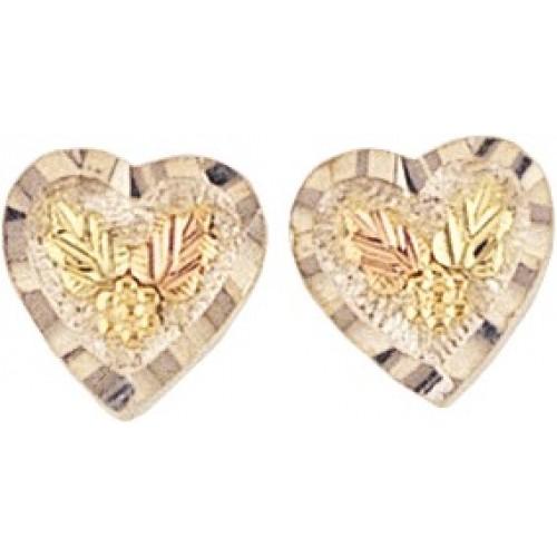 Black Hills Gold 10k Heart Stud Earrings