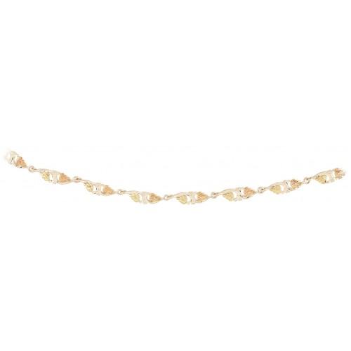 Black Hills Gold on Silver 8 Link Bracelet
