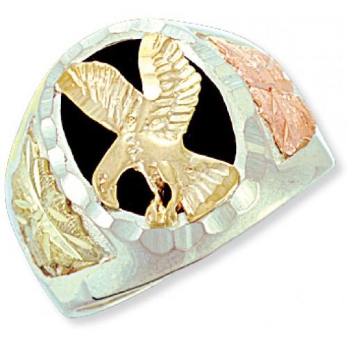 Black Hills Silver Onyx Eagle Mens Ring