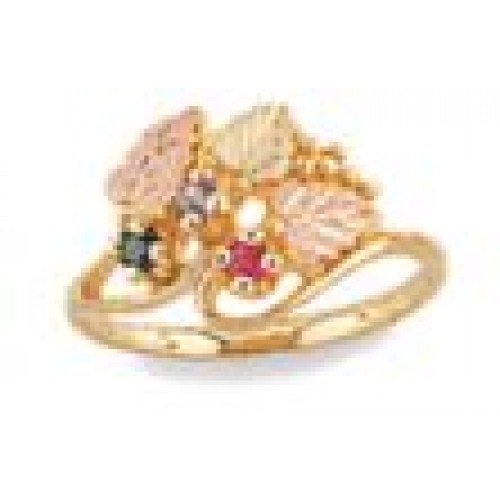 Mothers Ring with 12k Gold Leaves - 2-6 2.5MM Genu...