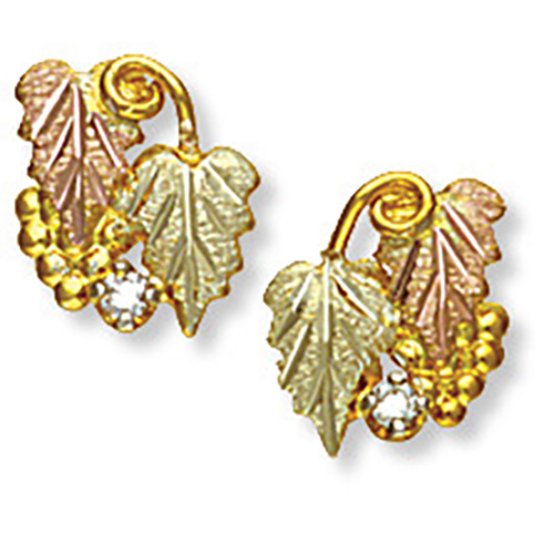 Black Hills Gold Diamond Earrings with Grapes