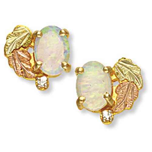 Black Hills Gold Opal Earrings with diamonds