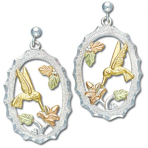 Black Hills Gold Humming Bird Earrings in Silver