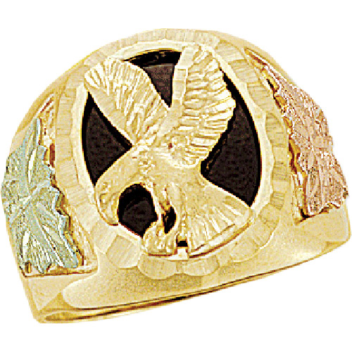 Landstroms Black Hills Gold Eagle Onyx Ring - 02402