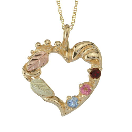 10K Gold Heart Shaped Black Hills  Mothers Pendant