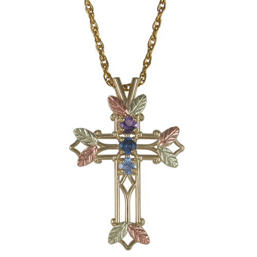 Mothers Black Hills Gold Family Cross Pendant