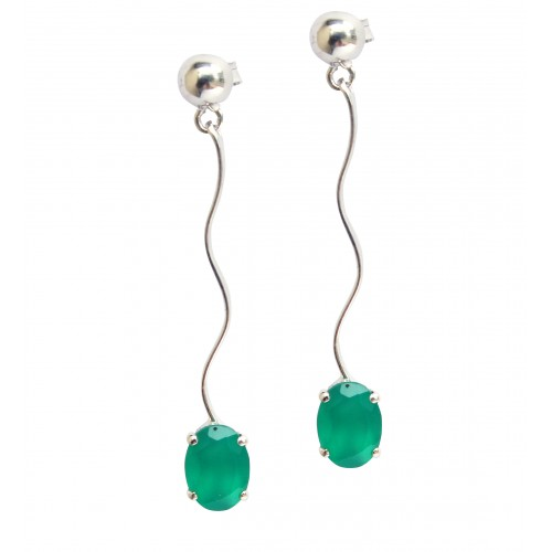 Oval 6 X 8 MM Natural Genuine Green Onyx 925 Sterl...