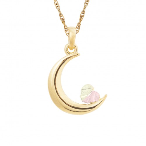 Black Hills Gold Crescent Moon Pendant in 10K Gold