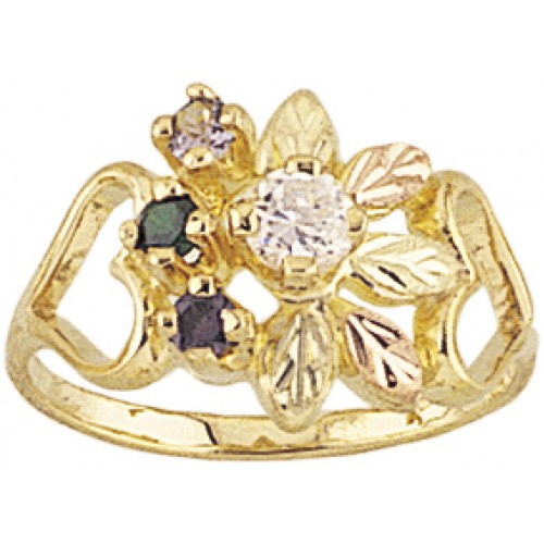Mt.Rushmore Black Hills Gold Black Hills Gold Mothers Ring -  3-6 2.5MM Birthstones
