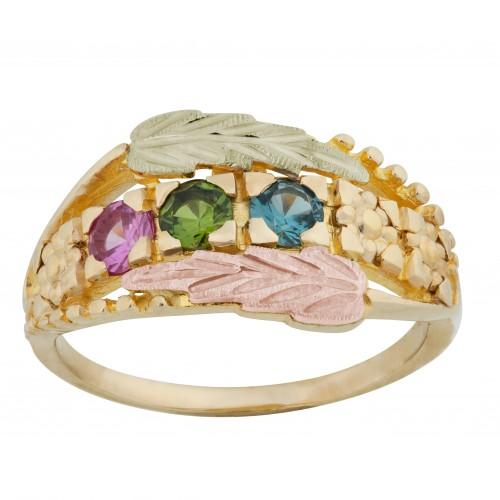 Mt.Rushmore Black Hills Gold Black Hills Gold Mothers Ring -  2-6 3.5MM Birthstones