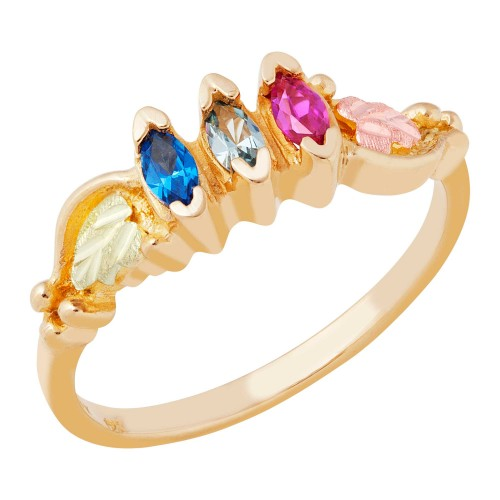 Mt.Rushmore Black Hills Gold Mothers Ring with 2-6 Birthstones