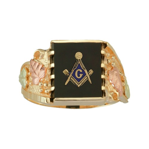 Men's  Black Hills Gold Masonic Ring in 10K Gold w...
