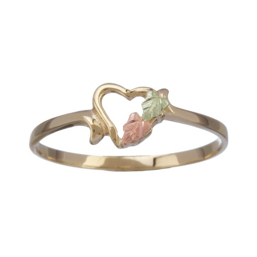 Womens 10K Black Hills Gold Heart Ring with 12k Go...