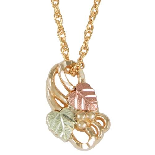 Black Hills Gold Open Design Leaf Pendant in 10K G...