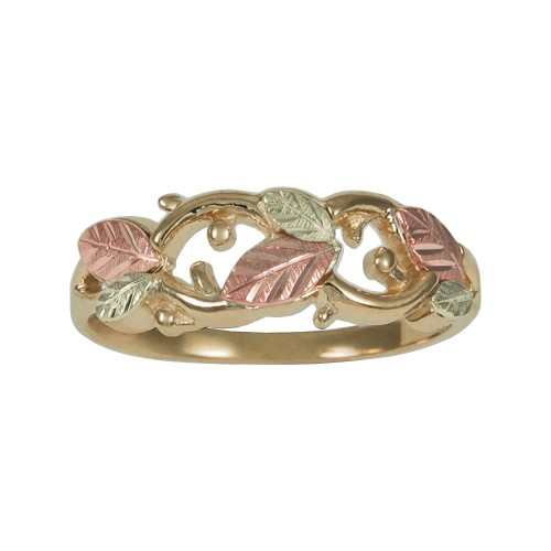 Womens Black Hills Gold Cut Out Leaf Band in 10K G...