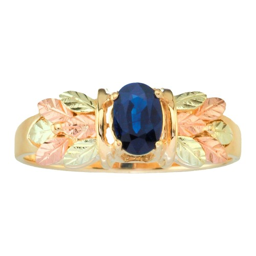 Black Hills Gold Sapphire Ring with 12k Gold Leave...