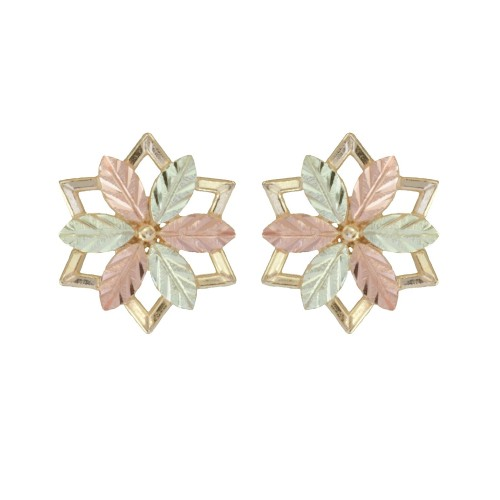 Black Hills Gold 10K Star Shaped Earrings with 12K...