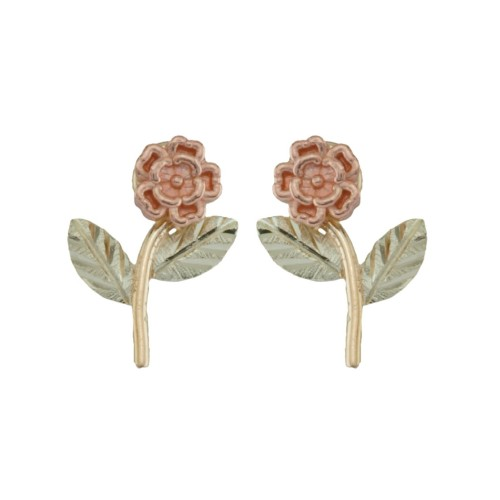 Black Hills Gold 10k Rose Stud Earrings