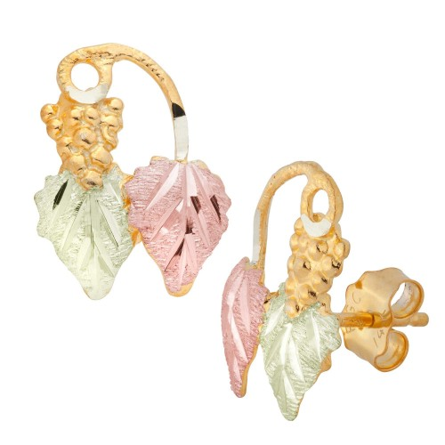 Black Hills Gold Grapes and Leaves 10k Stud Earrin...