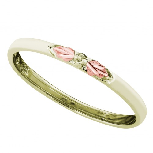 Women's Stackable Ring in 10K Green Gold with Pink...