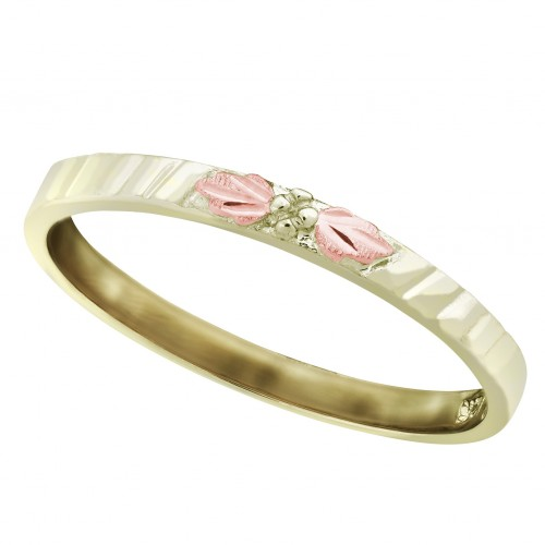 Textured Stackable Black Hills Gold Ring in 10K Gr...