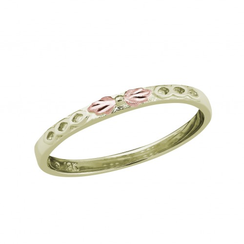 10k Black Hills Gold Stackable Ring in Green Gold with Pink Leaves for women