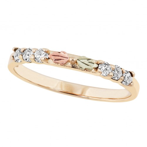 Black Hills Gold Stackable Women's Ring with Cubic...