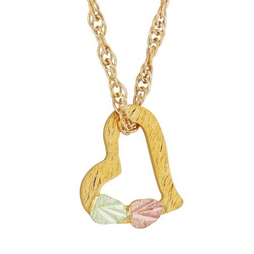 Slanting Heart 10k Gold Necklace - GLE379-18