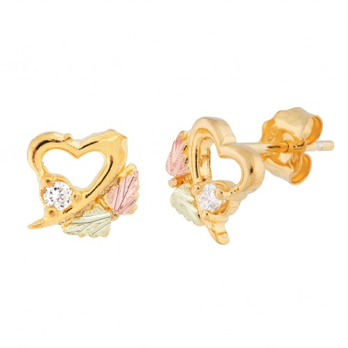 Black Hills Gold Heart Shaped Stud Earrings with 0...