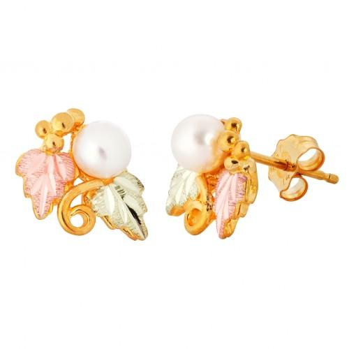 Black Hills 10k Gold 4 MM Pearl Earrings