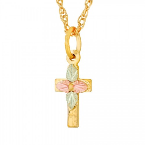 10K Black Hills Gold Cross Pendant with 13 Inch Ch...