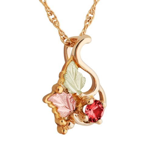10k Black Hills Gold Created Ruby Pendant Necklace