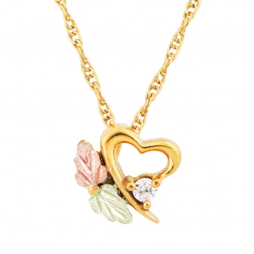 Black Hills Gold Slanting Heart 2.5MM Diamond Pend...