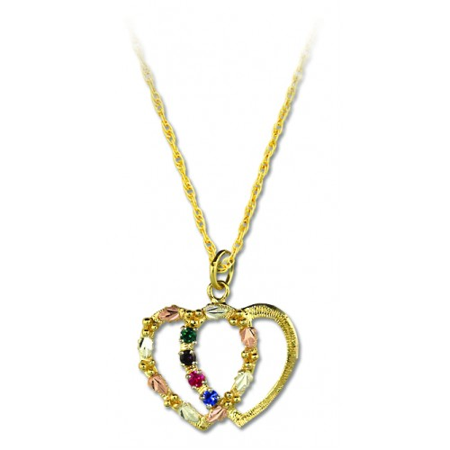 Double Heart Mothers Pendant Necklace