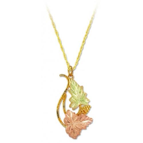 Black Hills Gold 10k Twin Leaf Pendant Necklace