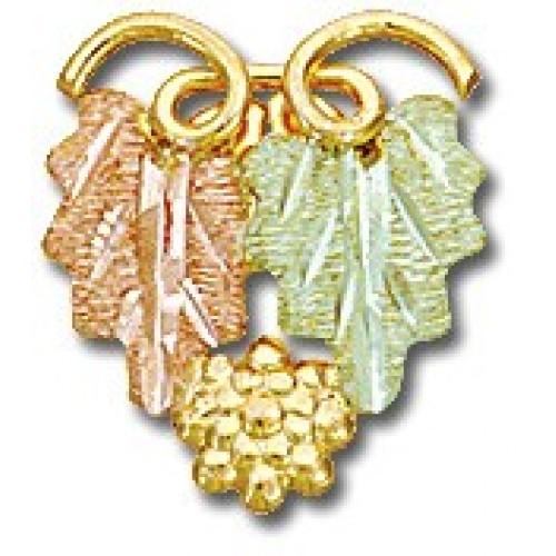 Tri color Black Hills Gold 10k Twin Leaf Tie Tack