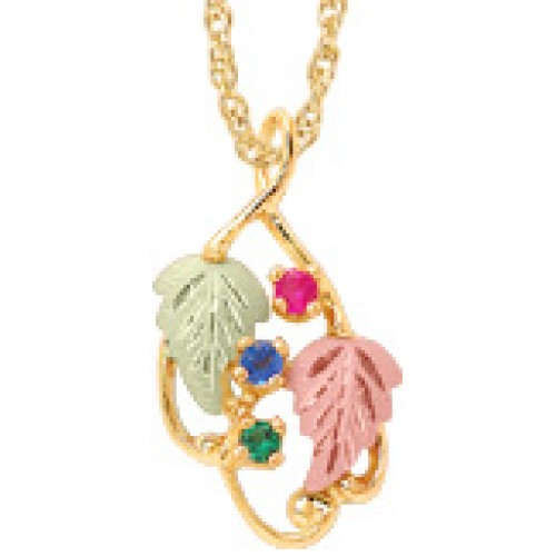 10K Gold Mothers Pendant -  1-7 2.5 MM Birthstones