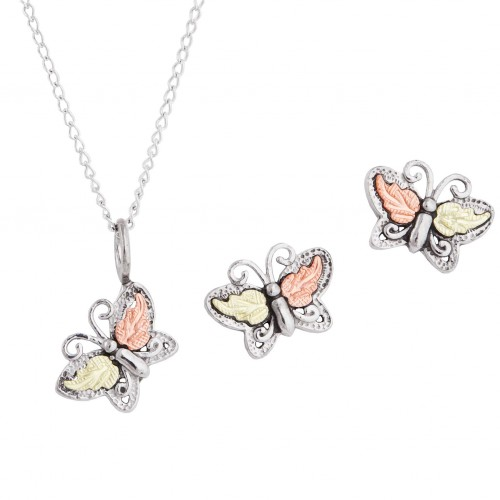 Black Hills Gold on Silver Butterfly Pendant and E...