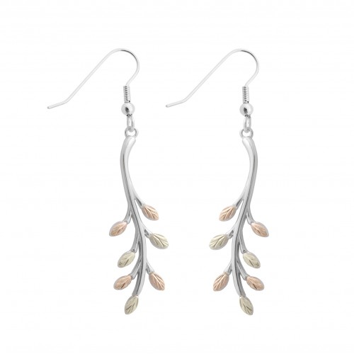 Black Hills Gold on Silver Sprouting Leaves Earrin...