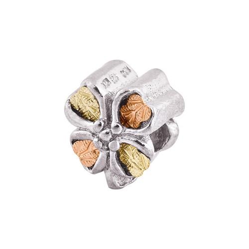 Sterling Silver Black Hills Gold Leaf Clover Bracelet Bead