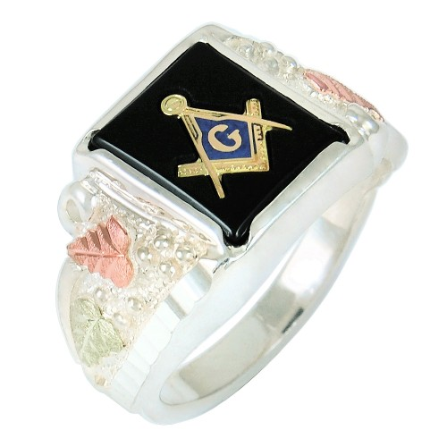 Men's Black Hills Gold Masonic Ring in Sterling Si...