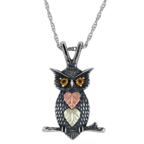 Oxidized Black Hills Silver Owl Necklace with Citr...