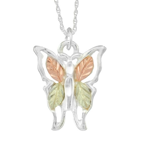 Sterling Silver Black Hills Gold Butterfly Pendant