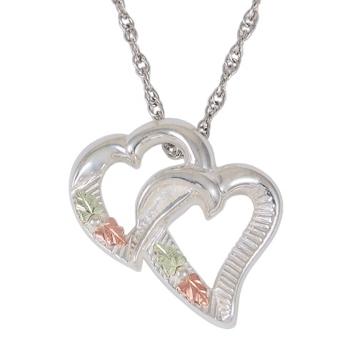 Interlocking Hearts Black Hills Gold Sterling Silv...