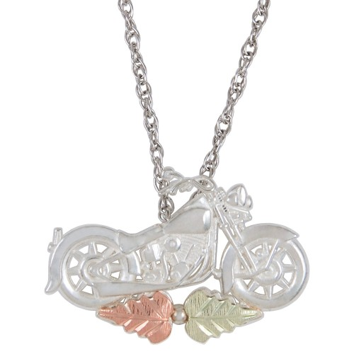 Black Hills Gold Motorcycle Pendant in Sterling Si...